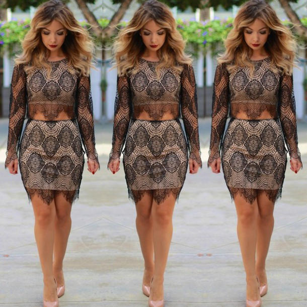two-piece lace top lace skirt lace dress
