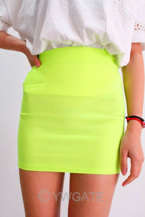 Women Candy Color Sexy A Line High Waist Mini Elastic Pencil Short Bodycon Skirt | eBay