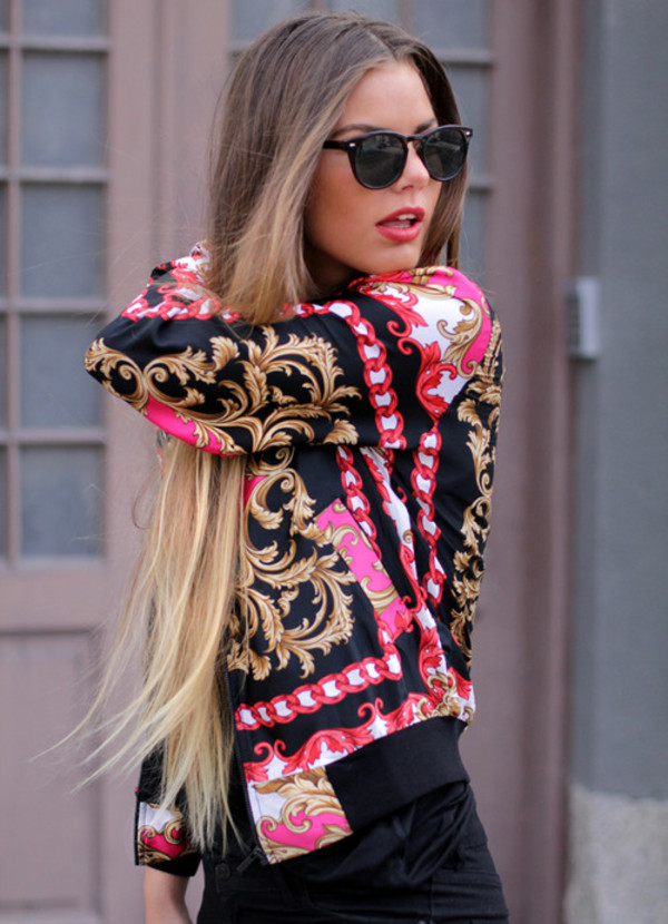 jacket pink gold sunglasses long hair urban back clothes Scarf Print pattern oriental print pretty so awesome blouse black coat shirt colorful red beautiful sweater vintage sweater pink sweater dope rose pink gold style jacket fashion 2014 gold girly pink blouse flowerly floral flowerpower fall outfits fashion swag chain style