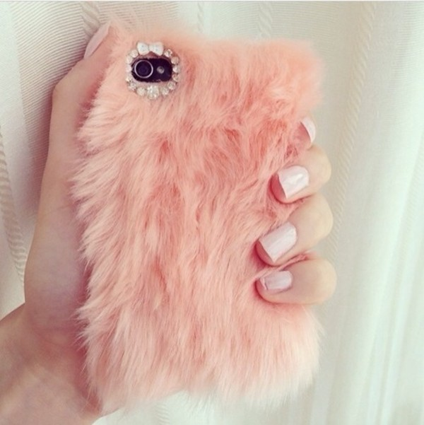 phone cover fluffy pink technology bag