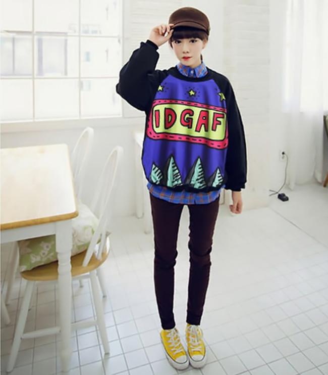 Womens Fashion Cute Black Long Sleeve Cartoon Print Pullover Hoodies Sweatshirt | eBay