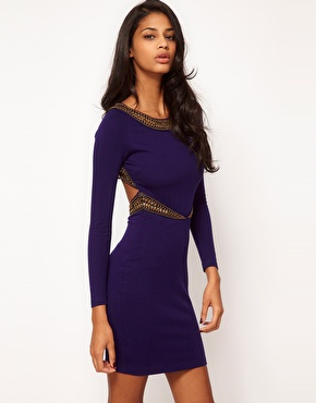 ASOS Petite | ASOS PETITE Exclusive Body-Conscious Dress With Strappy Embellished Back at ASOS