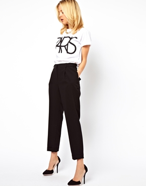 ASOS | ASOS Smart Peg Trousers with Ruched Waist Detail at ASOS