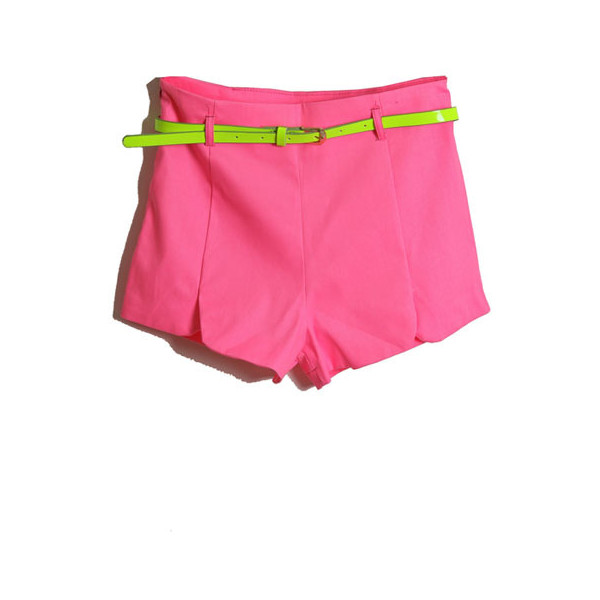 With Belt Fluorescent Rose Shorts - Polyvore