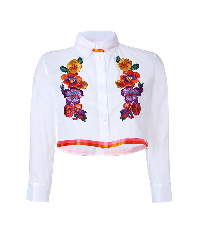 EmbroideredCroppedCottonBlousefromALBERTAFERRETTI   Luxury fashion online   STYLEBOP.com
