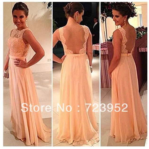 Real Vestidos Formales Free Shipping New Fashion Best Selling Chiffon A Line Pretty Nude Back Lace Peach Formal Evening Dress-in Evening Dresses from Apparel & Accessories on Aliexpress.com