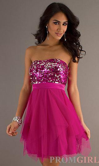 Strapless Short Prom Dresses, Sequin Strapless Dresses- PromGirl