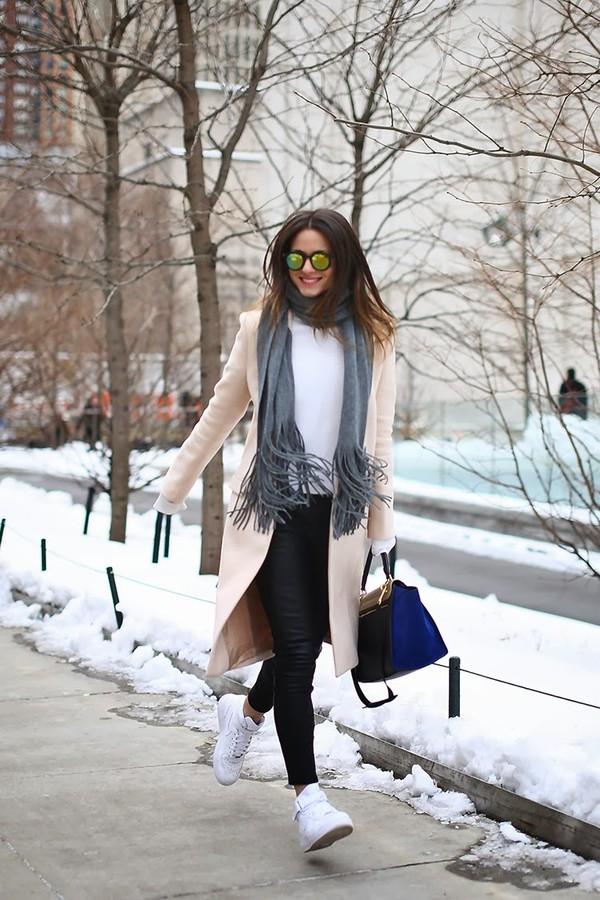 fashion vibe bag coat shoes pants sweater scarf sunglasses