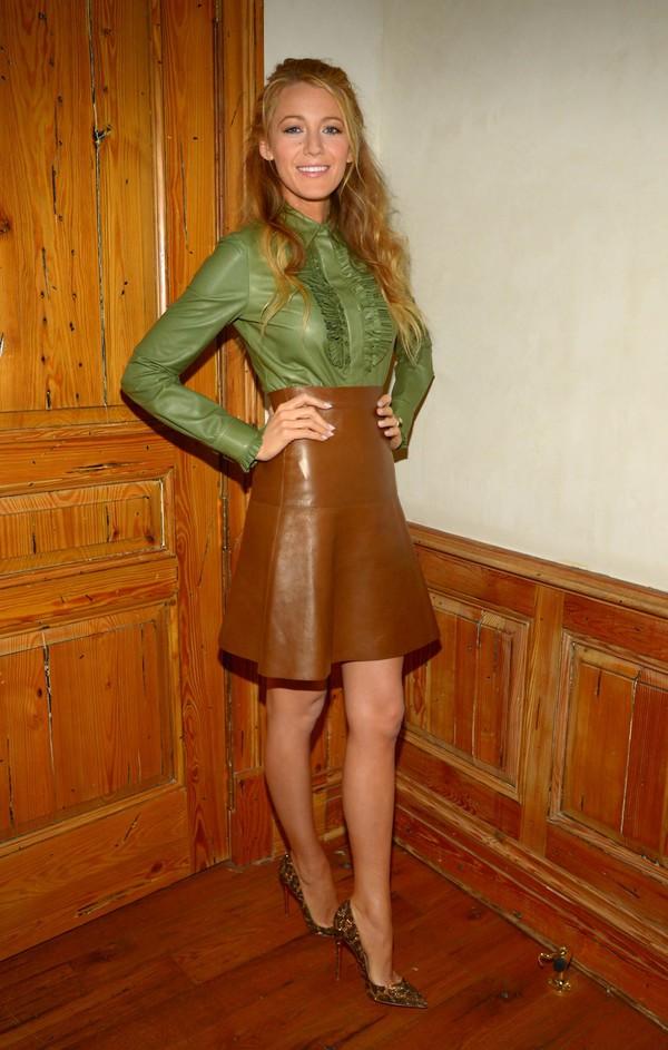 skirt blake lively blouse shoes