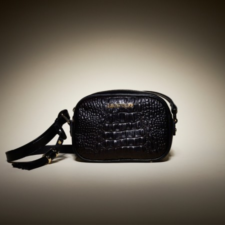 Leowulff black croco leather shoulder bag
