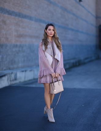 hapa time blogger dress jacket shoes bag purple dress vest handbag ankle boots