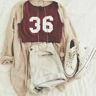 crop tops burgundy white shorts white sneakers nude cardigan shoes shirt jewels knitted cardigan beige