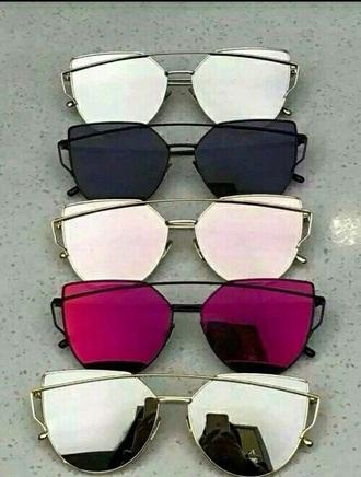 sunglasses mirrored sunglasses cat eye black pink
