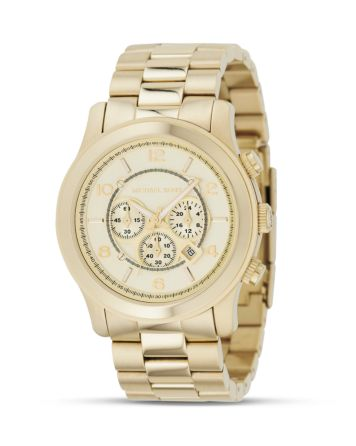 Michael Kors Oversized Chronograph Goldtone Watch, 44 mm | Bloomingdale's