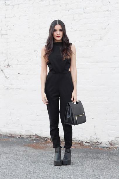dress like jess blogger jumpsuit handbag platform shoes