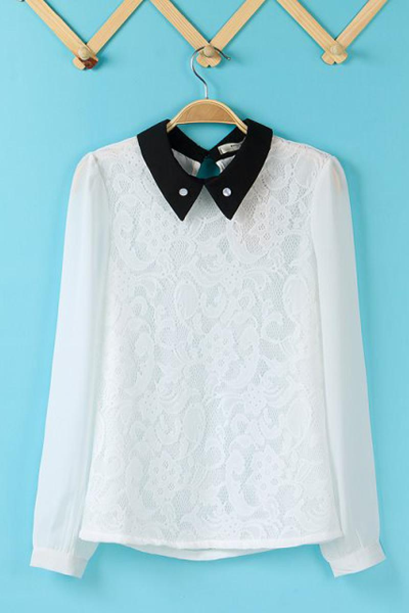 Western New Section Vintage Chiffon Lace Long Sleeve Pullover Sweater,Cheap in Wendybox.com