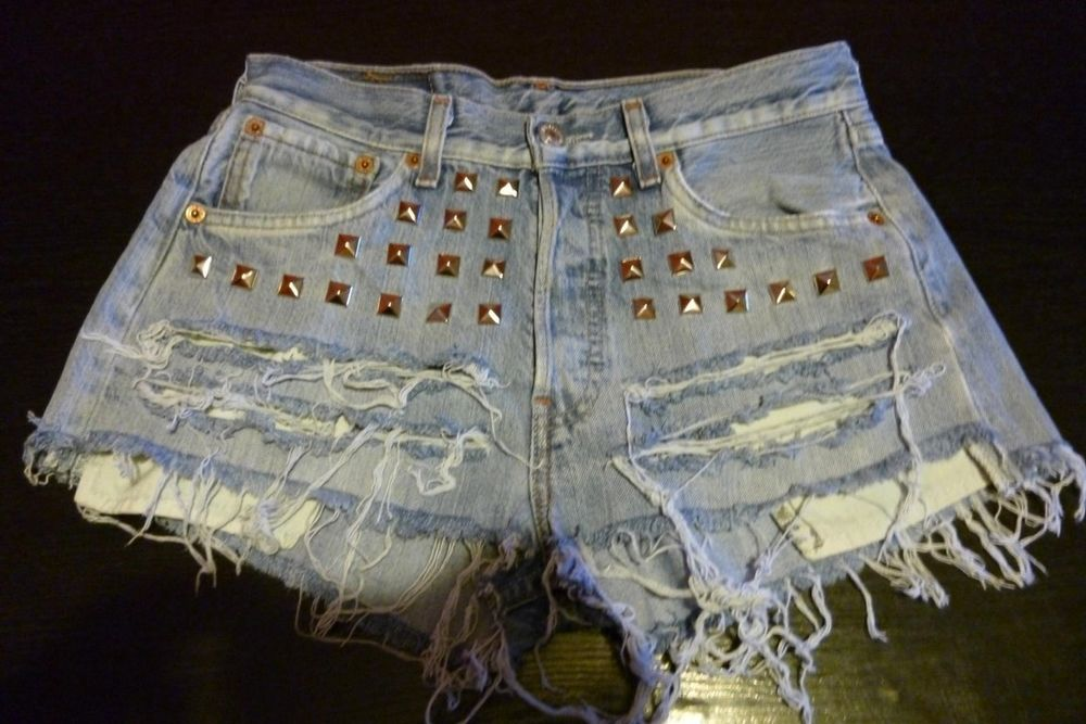 Vintage Levi's High Waisted Blue Shorts Studded Distressed Sz 4 5 | eBay