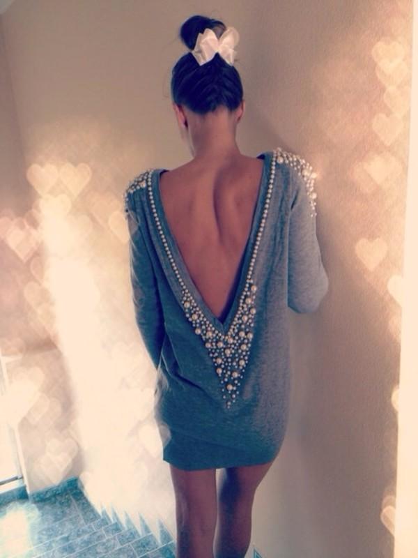 dress dress pearls blue short