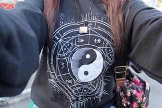 sweater sweatshirt jumper jacket hipster hot lovely punk rock yinyang punk emo black sweater yin and yang sweatshirt