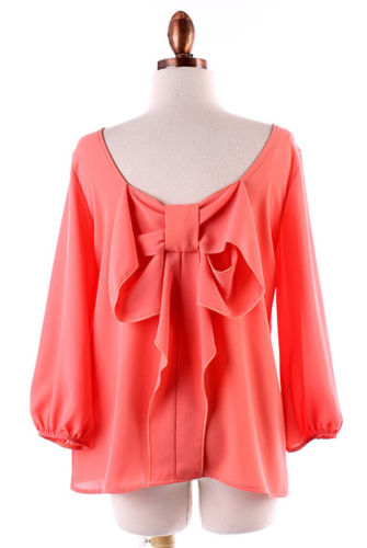 New Coral Bow Back Blouse Shirt Size Small Medium Large | eBay