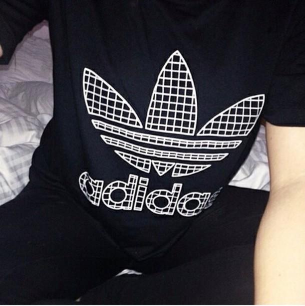 t-shirt black adidas top