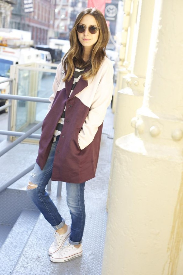 something navy coat jeans shoes t-shirt bag