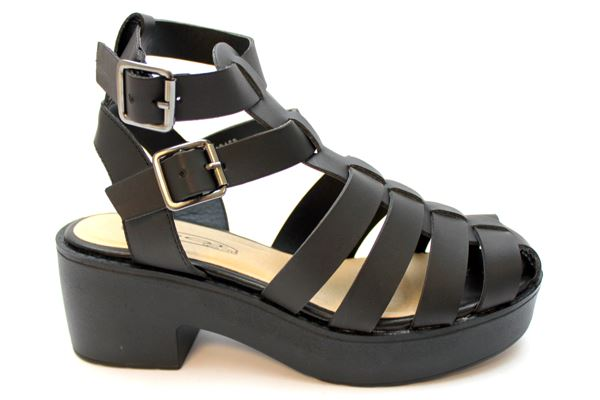 BLACK REGINA Chunky Heel Gladiator Sandals at Mr Shoes UK