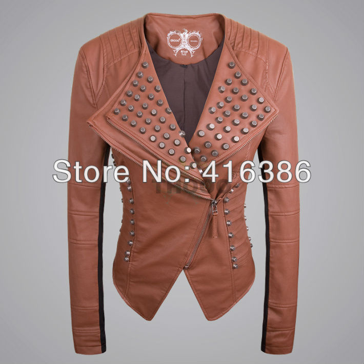 THOOO  Women Rock Punk Rivets BRWON Studded Blazer Coat PU Leather Motorcycle Spiked Cropped Jacket-in Leather & Suede from Apparel & Accessories on Aliexpress.com