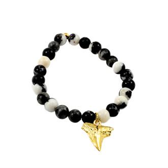 jewels anarchy street handmade colorful bracelets beaded bracelet charm bracelet sharp tooth shark tooth gold gold charm marble