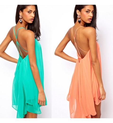 Chiffon Backless Dress - Party Dresses - Dresses - Clothing