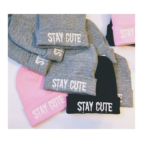 Stay Cute Embroidered Beanie from TOKYO HARDCORE on Storenvy