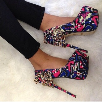 shoes tribal high heels colorful high heels colorful patterns colorful shoes