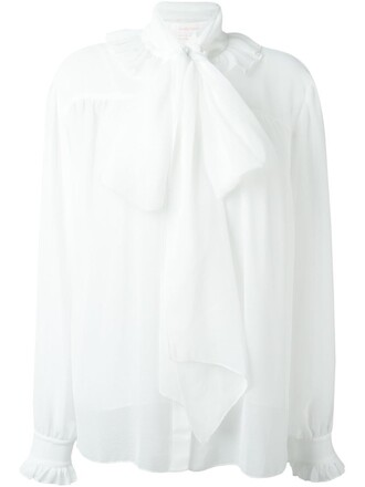 shirt bow women white top