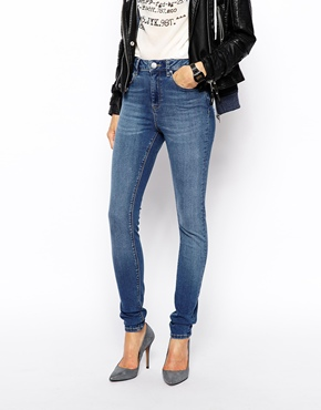 ASOS   ASOS Ridley High Waist Ultra Skinny Jeans in Busted Blue at ASOS
