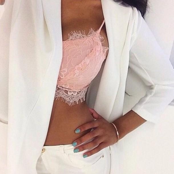underwear pink crop top lace top lace dress lace cami lace crop top lace lingerie