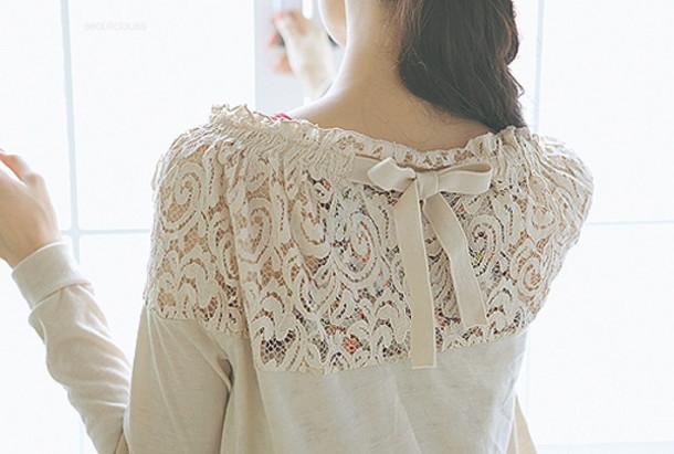 clothes blouse beige bow lace