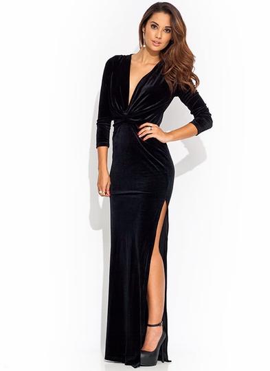 Twisted-Velvet-Maxi-Opera-Dress BLACK BLUE RED - GoJane.com
