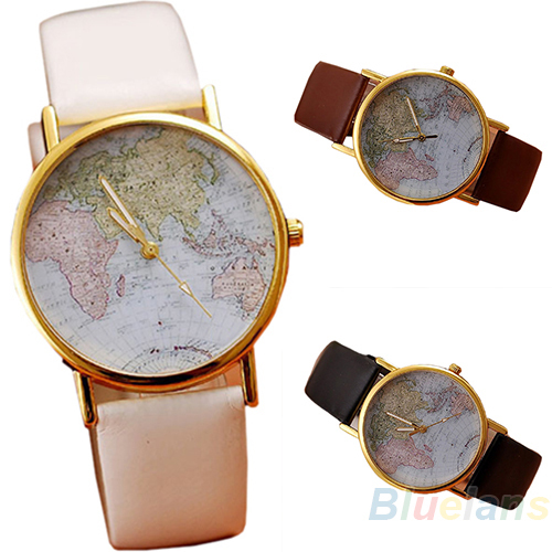 Hot Sale christmas gifts Retro World Map Watch Fashion Leather Alloy Women Casual Analog Quartz Wrist Watch items-in Wristwatches from Watches on Aliexpress.com