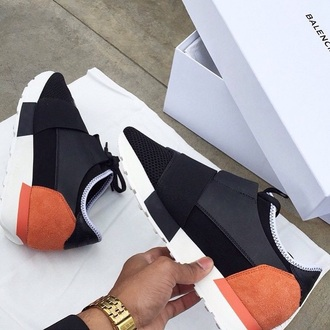 shoes sneakers black peach white sportswear unknown brand colorblock strappy shoes