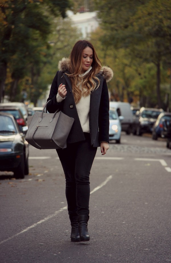 louhayhay coat sweater jeans shoes bag sunglasses