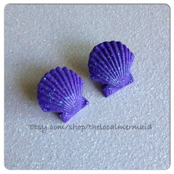 Light/ pastel purple scallop shell earrings / by thelocalmermaid