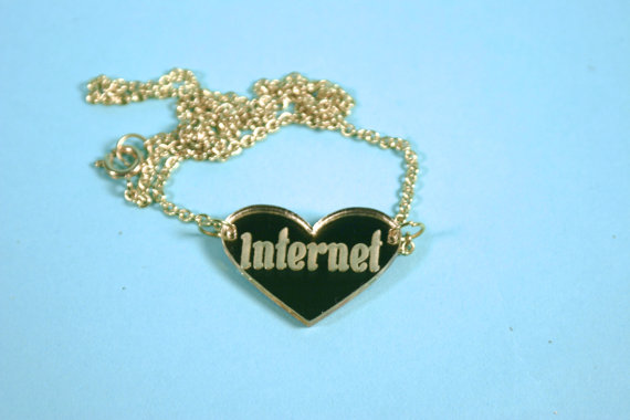 Internet Heart Gold Mirror Acrylic Necklace by supah on Etsy