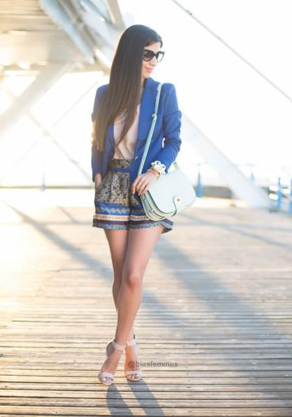 Lapel Cotton Suit - Blue