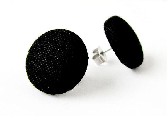 Black button earrings  simple fabric earrings  by KooKooCraft