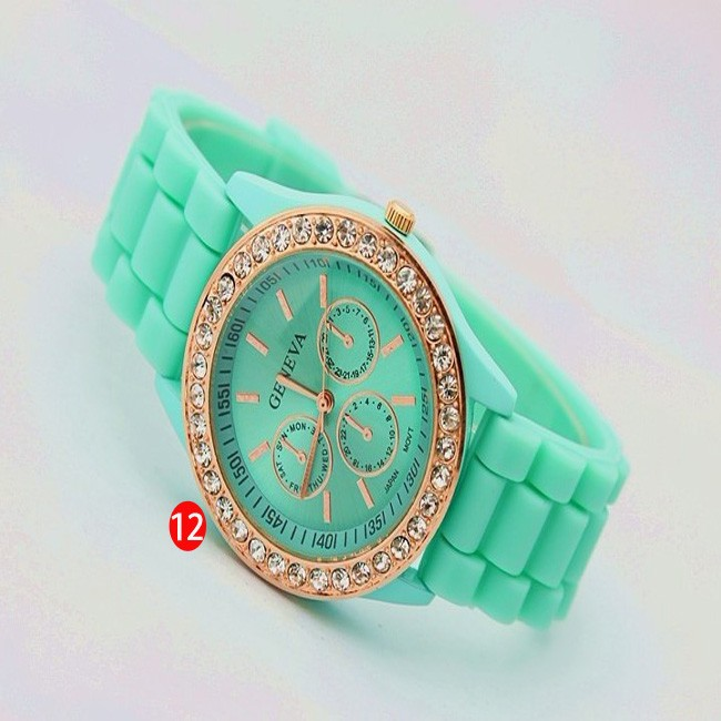 2013 Hot New Fashion 15color choices geneva Lady Crystal Silicone Watch Jelly watch for women wedding quartz women dress watches-in Wristwatches from Watches on Aliexpress.com