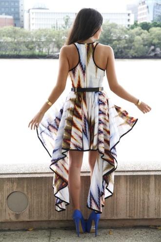 dress high low asymmetrical tribal pattern high low dress celebriy shopplasticland style cardigan colorful blue dress blue shirt orange dress white dress pink dress purple dress beige dress beige