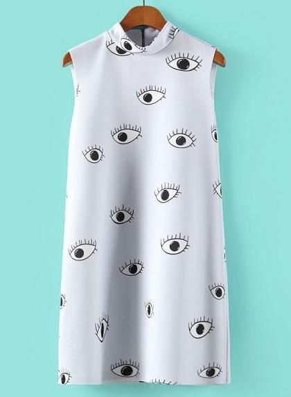 Light Blue Stand Collar Eyes Print Straight Dress - Sheinside.com