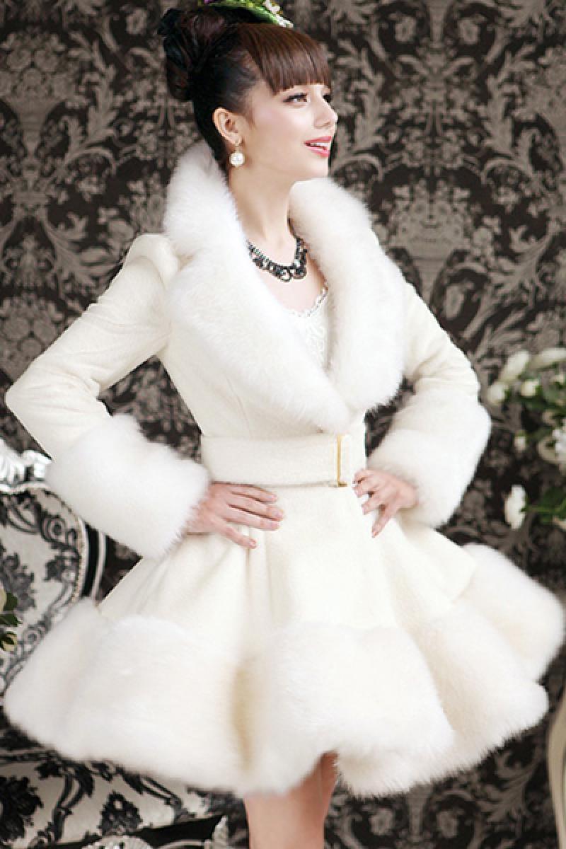 Autumn & Winter New White Rabbit Fur Collar Women Woolen Coat,Cheap in Wendybox.com