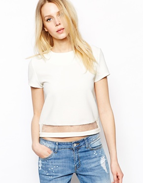 Fashion Union | Fashion Union Crop T-Shirt With Mesh Insert at ASOS