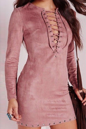 dress lace up pink fashion style plunging neck long sleeve faux suede dress hot sexy trendy fall outfits long sleeves winter dress zaful champagne dress champagne pink dress tie up long sleeve dress v neck dress